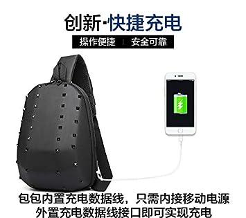 NDYE Rivet Chest Bag Men Usb Charging Single Shoulder Bag Unisex Personality Messenger Bag 301236
