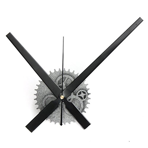 Cheap CIGERA DIY Wall Clock with 3D Gear Clock Movement and Silent Non Ticking Aluminum Hands,Great Decorative Clock for Kitchens and Home Decor,Sliver+Black