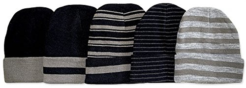 Review ToBeInStyle Men's Pack of 6 Soft Stretchy Beanies (One Size, Striped)