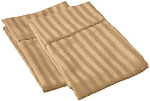 Striped Gold Pillowcase (European Elite ITALIAN HOME COLLECTION Luxury Soft Wrinkle Resistant Striped KING PILLOWCASE Set, GOLD)