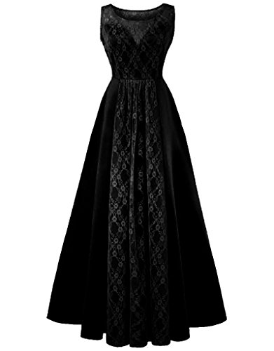 Dress Maxi Bridesmaid Lace Vintage Sleeveless Dresses Black Aecibzo Prom Women Evening Long fg4FII