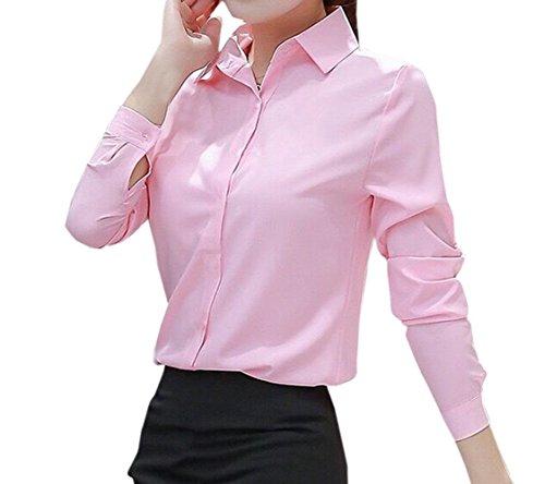 t Slim de JackenLOVE Chemisiers Casual Courtes Blouse Revers Tops Fashion Bureau Manches Couleur Femme Tee Haut Shirt Unie Rose2 dqCqwYv