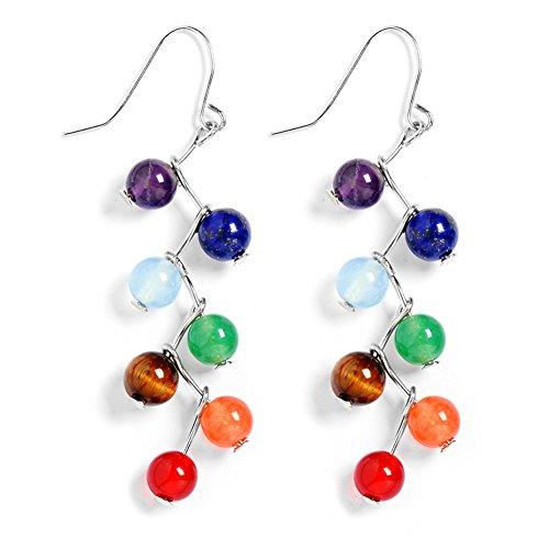Jauxin 7 Chakra Long Dangle Stanless Steel Hook Healing Engery Earrings for Women Girls