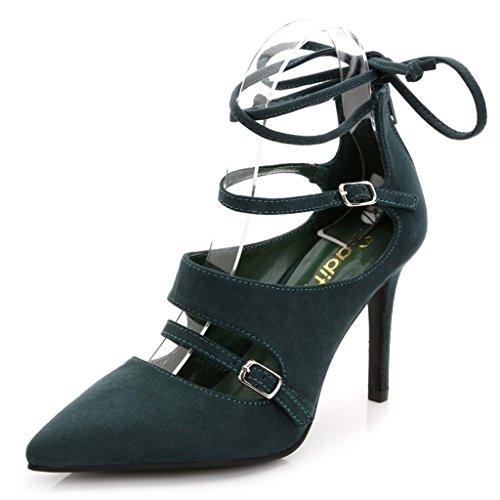 Doris Fashion Women's Suede Shoes Stylish Evening Wedding Pointed Toe High Heels Green 8.5 M US