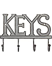Key Holder Keys - Wall Mounted Western Key Holder | 4 Key Hooks | Decorative Cast Iron Key Rack | with Screws and Anchors - 6x8- CA-1506-04