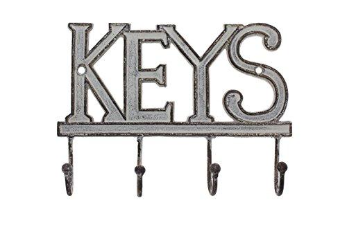 "Key Holder ""Keys"" - Wall Mounted Western Key Holder | 4 Key Hooks |Decorative Cast Iron Key Rack| with Screws and Anchors - 6x8""- Ca-1506-04 (Antique White)"