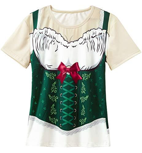 Funny World Women's Bavarian Oktoberfest Costume T-Shirts (L) -
