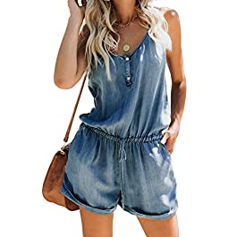 Feditch Women's Denim Buttons Down Spaghetti Strap Playsuit Jumpsuit Romper with Drawstring Pockets