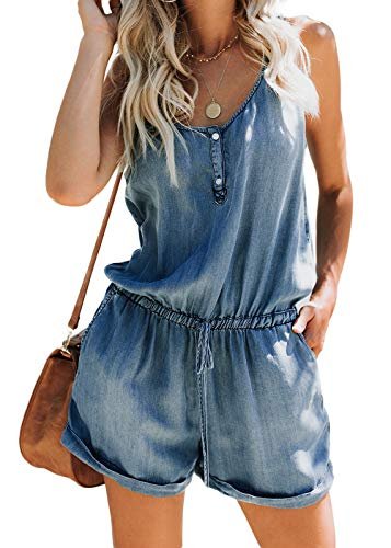 Feditch Women's Denim Buttons Down Spaghetti Strap Playsuit Jumpsuit Romper with Drawstring Pockets Blue X-Large