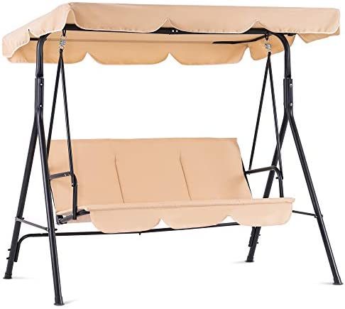 Mcombo 3-Person Outdoor Patio Swing Chair