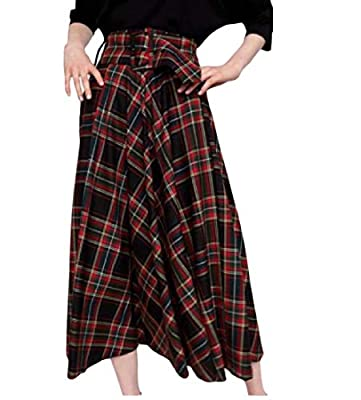 Coolred-Women Belted Midi Scotland Plaid Party Flared A-Line Skirt