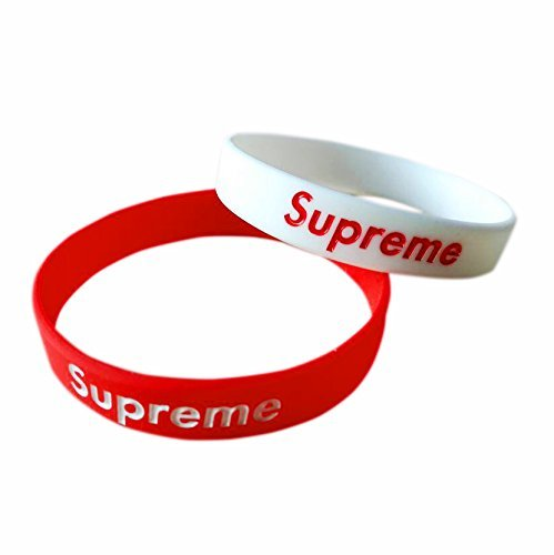 Latest Urban Style Wristbands (2 PACK) RED+WHITE. Popular Silicone Rubber Bracelet for Sports Fitness, Unisex Teen Adult Fashion Supreme (Pack Supreme)