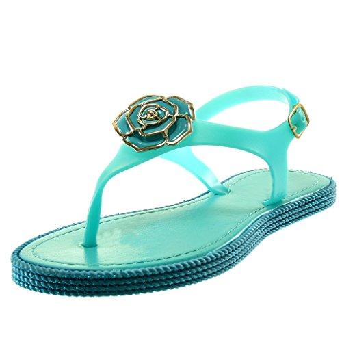 Turquoise Cheville Angkorly Salomés Plat Fleurs Talon CM Sandale 1 Femme doré Mode Chaussure Lanière Tong Bijoux WHrTwrZc7