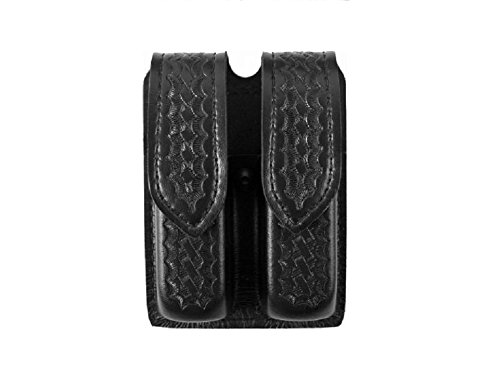 Safariland Double Mag Pouch - Safariland Duty Gear S and W 59 Hidden Snap Double Handgun Magazine Pouch (Basketweave Black)