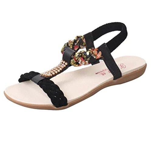 LANDFOX Zapatillas de mujer Zapatos planos Flor Ocio Señora Sandalias Zapatos al aire libre Negro