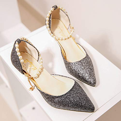 Banchetto Nero Women Shoes Toe Tacchi Women's Summer Sandals One Heel Buckle Alti Fine Da High Casual Word Sexy Pointed Qhj UzFqHA
