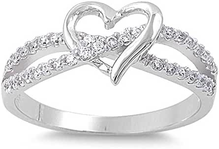 Sterling Silver Infinity Heart Love Knot Ring size 3-12 Three Colors Available