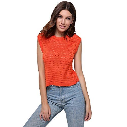 GCAROL - Jerséi - Básico - Cuello redondo - Sin mangas - para mujer naranja