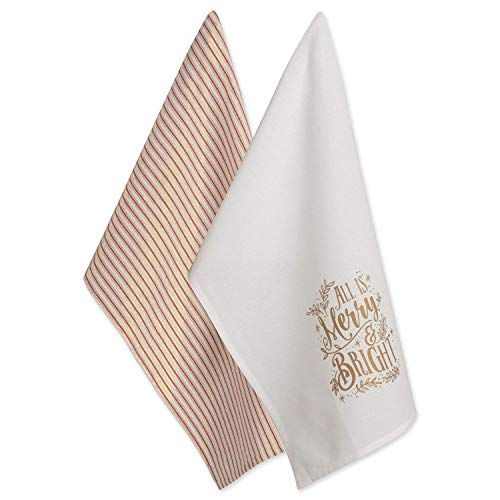 DII 100% Cotton 18x28 Christmas Holiday Dish Towels Set of 2-Merry & Bright ()