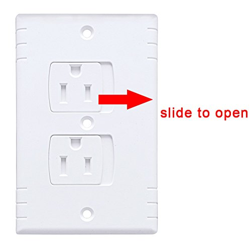 AUSTOR Electric Outlet Covers Baby Safety Wall Guards Socket Plugs Self-Closing Plate Alternate Protector for Child Proofing, 8 Pack by AUSTOR (Image #1)