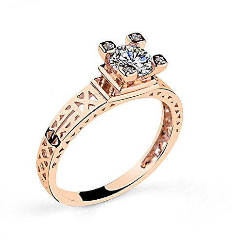 Acefeel 18K Rose Gold Eiffel Tower Cubic Zirconia Band Ring Size 6 (Tower Ring Eiffel)
