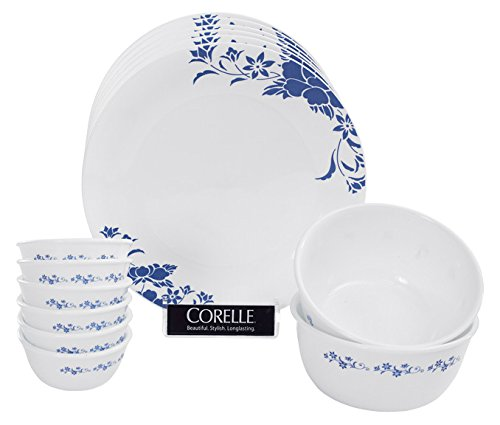 Blue Royale Dinner - Corelle India Impressions Royale Glass Dinner Set 14-Pieces White/Blue