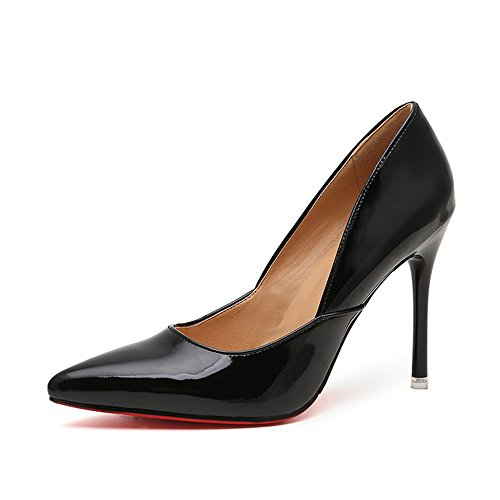 HXVU56546 Durante La Primavera Y El Otoño Los Nuevos Zapatos De Mujer Fina Con Tacones Moda Calzado Único Partido Black