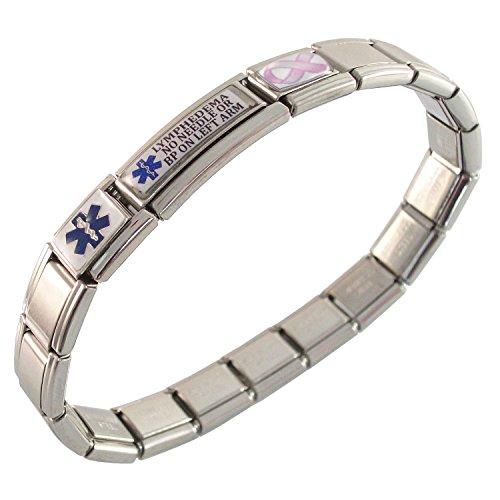 - Gadow Jewelry Lymphedema No Needle or BP on LEFT Arm Medical ID Alert Italian Charm Bracelet Pink Ribbon