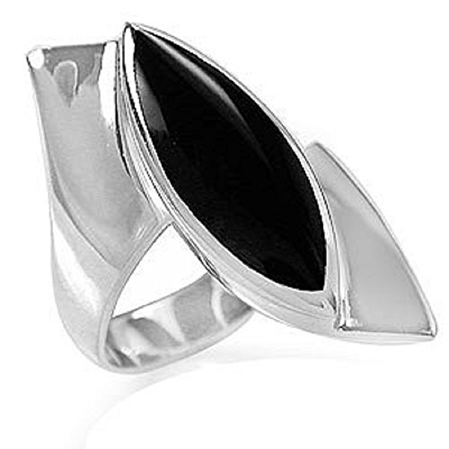 Marquise Shape Created Black Onyx White Gold Plated 925 Sterling Silver Ring Size (Shape Onyx)