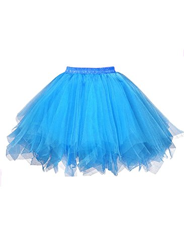 emondora Women's Tutu Tulle Petticoat Ballet Bubble Skirts Short Prom Dress Up Blue Size M-XL