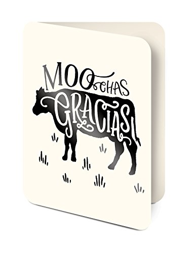 Studio Oh! Artisan Thank You Notecards, Foiled Moo-Chas Gracias, Box of 8