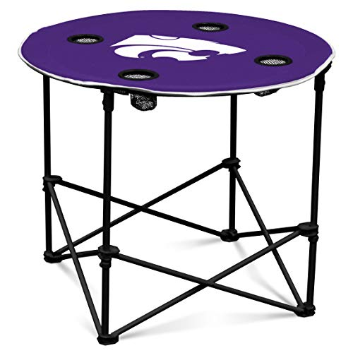 Kansas State Wildcats Collapsible Round Table with 4 Cup Holders and Carry Bag