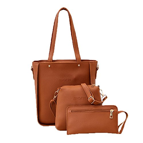 3 Piece Bag Set, WuyiMC Women Stylish Synthetic Leather Lash Package Shoulder Tote Purse Bag (Brown) - Stylish Mini Tote
