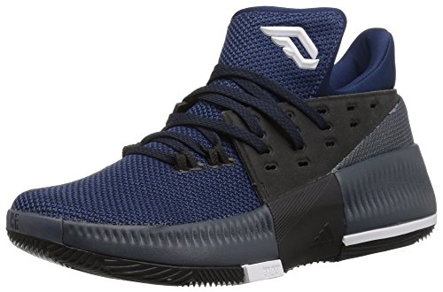 adidas Performance Boys D Lillard 3 J Shoe, Black/Mystery Blue/Utility Blue, 6.5 M US Big Kid