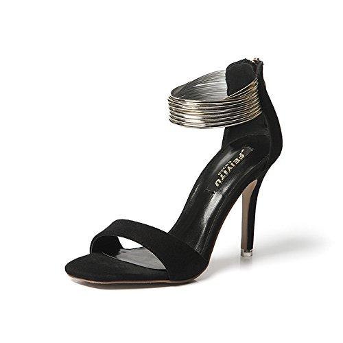 Heels Women Large Party Shoes Stiletto Platform Dress Black Pumps Sandals High Size twtA6qf