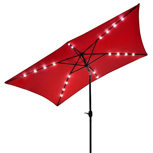 10×6.5 Foot Aluminum Red Rectangular Solar LED Powered Polyester Outdoor Tilting Patio Furniture Umbrella w/ Crank Handle For Sale