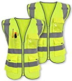 Pack of 2 Safety Vest Reflective Strips Yellow with Front Zipper 9 Pockets, Class 2 High Visibility Meets ANSI/ISEA Standards by Galashield (Extra Large)