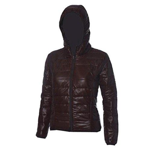 Abrigo delgada con moda de informal y larga de sección de capucha Marrón capucha invierno con de Chaqueta mujer de de manga algodón Internert capucha CwYXSdqq