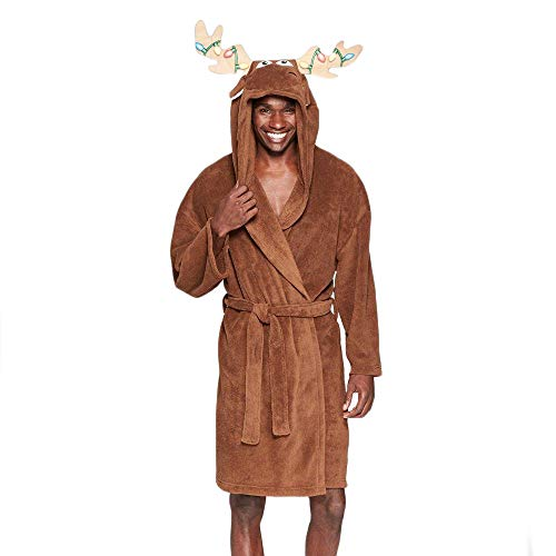 Briefly Stated Men's Plush Fleece Hooded Plush Animal Costume Robe Large/X-Large Holiday - Holiday Moose
