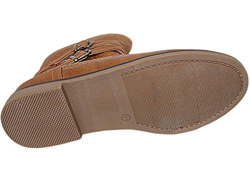Faux 12 Chelsea Flat Zip Krush Kids Boots Ladies Biker Foster Tan Size Ankle Buckle Footwear Casual 8 Girls Leather Tan FwnqT