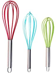 """Silicone Whisk Set of 3,FLYL Stainless Steel & Silicone Whisk 8""""+10""""+12"""" Kitchen Balloon Utensils for Blending, Whisking, Beating Stirring"""