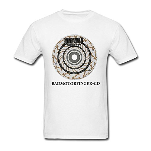 Guwmi Men's Badmotorfinger CD T Shirt White XL ()