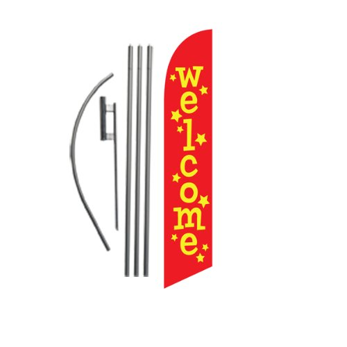 (Welcome Advertising Feather Banner Swooper Flag Sign with Flag Pole Kit and Ground Stake)