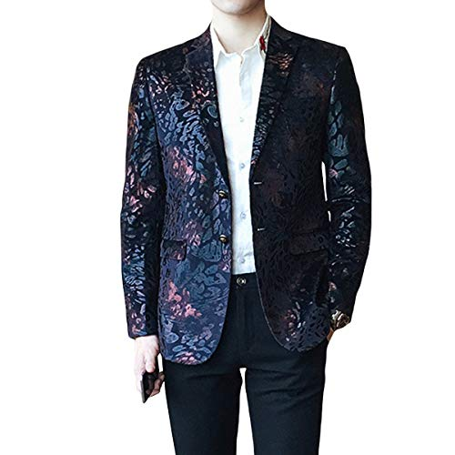 Single Breasted Two Button Sport Coat - MAGE MALE Men's Dress Party Floral Suit Jacket Notched Lapel Slim Fit Two Button Stylish Blazer