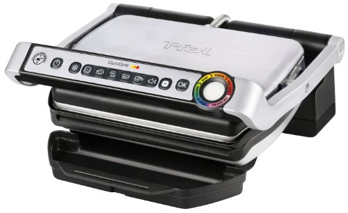 T-fal OptiGrill Indoor Grill, Electric Grill with Dishwasher Safe Plates, 1800-Watt, Silver, Model GC702 by T-fal