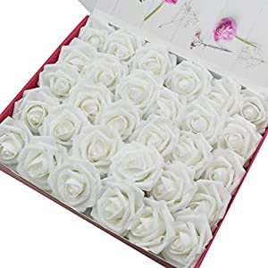 Mikash 60pcs Artificial Roses Flowers Real Looking Fake Roses Artificial Foam Roses Tion DIY for Wedding Bouquets Centerpieces,Arrangements Party Shower Home tions (White)     Model WDDNG - 107 98