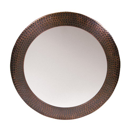 The Copper Factory CF139AN Solid Hammered Copper Framed Round Mirror, Antique ()