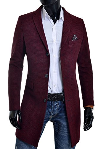 D&R Fashion Mens Winter Over Coat 3/4 Long Jacket Paisley Red Tweed Cashmere Three Buttons at Amazon Mens Clothing store: