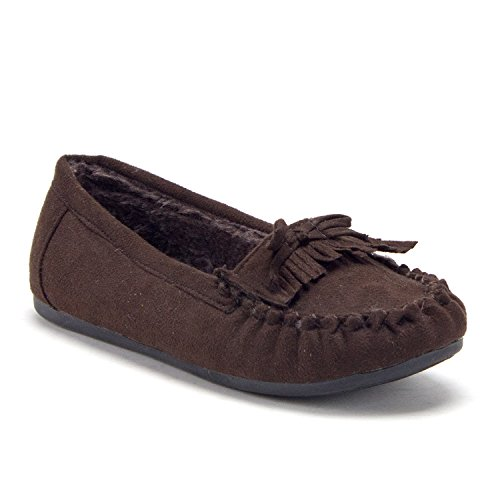 Price comparison product image J'aime Aldo Toddler Little Girls Tasha Warm Lined Slip-On Moccasins Smoking Flats Shoes, Brown, 8