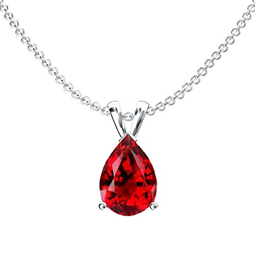 Dazzlingrock Collection 9x7 mm Pear Cut Garnet Ladies Solitaire Pendant (Silver Chain Included), Sterling Silver